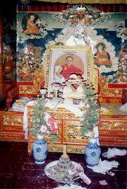 Throne awaiting Dalai Lama's return. Summer residence Nechung. 1993