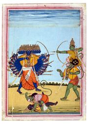 Rama and Hanuman fighting Ravana, an album painting on paper, c1820