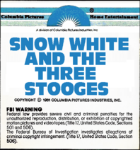 Snow White and the Three Stooges 1979 sticker label 1C