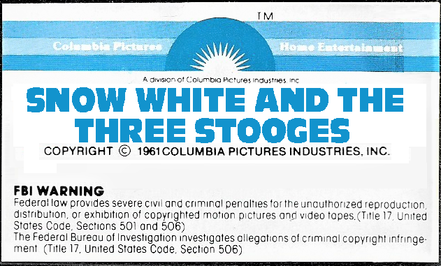 File:' Snow White and the Three Stooges 1979 VHS Sticker Label