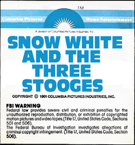 Snow White and the Three Stooges 1979 sticker label 1B