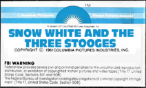 Snow White and the Three Stooges 1979 VHS Sticker Label 1B