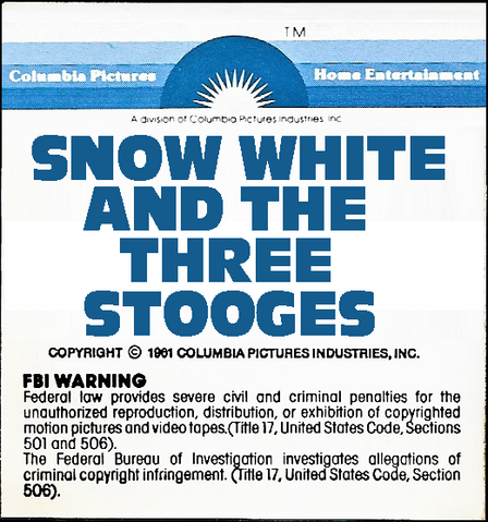 File:' Snow White and the Three Stooges 1979 sticker label