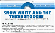 Snow White and the Three Stooges 1979 VHS Sticker Label 1A