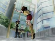 Téa catches with Yami Yugi