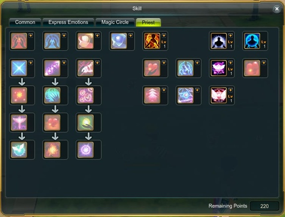 Skill screen