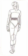 BIOHAZARD 1.5 concept artwork - Elza Walker final standard outfit design line art 1 back