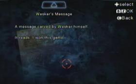 Mensaje de Wesker