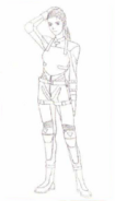 BIOHAZARD 1.5 concept artwork - Elza Walker early RPD outfit line art