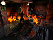 Resident Evil 3 Nemesis screenshot - Uptown - Street along apartment building - Jill Valentine gameplay 01