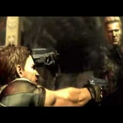 Wesker aiming his <a href=