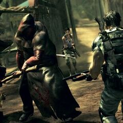 Chris and Sheva fighting the Executioner Majini
