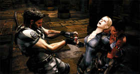 Chris and Sheva release Jill from Wesker control