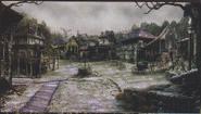 Resident Evil 4 concept art - Village Centre 1