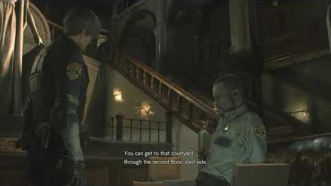 Resident Evil 2 remake all scenes - Marvin watches CCTV (Leon)