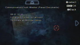 Comunicaciones de Wesker (faxes)