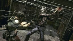 Chainsaw Majini attacking Chris Redfield