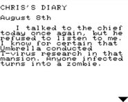 Resident Evil 2 Game.com file - CHRIS'S DIARY - page 1