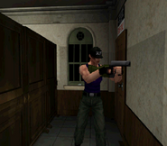 RE2 Leon aiming C. Hand Gun