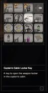 RESIDENT EVIL 7 biohazard Captain's Cabin Locker Key inventory