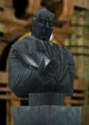 Michael Warren statue close up
