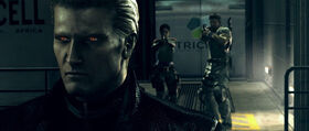 Chris and Sheva confronts Wesker in Hangar