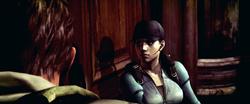 Jill e Chris durante o ataque a Spencer Estate
