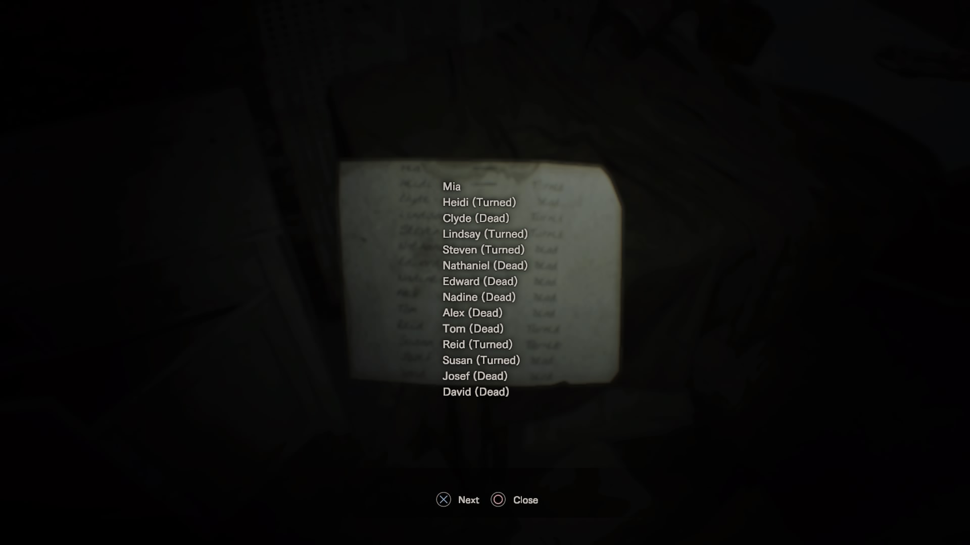 resident evil 7 characters list
