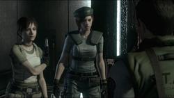 Rebecca reunida Jill e Chris durante a fuga da mansão