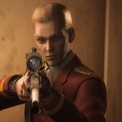 Альфред со снайперской винтовкой