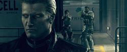 Chris e Sheva confrontam Wesker no Hangar