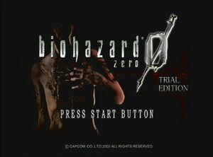 Biohazard zero title Screen