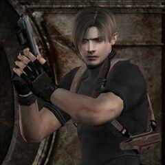 Леон вооружён пистолетом