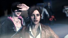Resident Evil Revelations 2 screenshot - Terrasave under attack, Claire Redfield and Moira Burton
