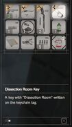 RESIDENT EVIL 7 biohazard Dissection Room Key inventory