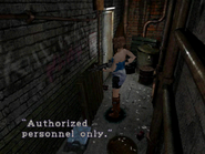 Resident Evil 3 Nemesis screenshot - Uptown - Warehouse back alley examine 02