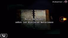 Notas de Wesker sobre las distintas mutaciones