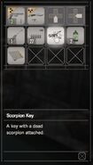 RESIDENT EVIL 7 biohazard Scorpion Key inventory