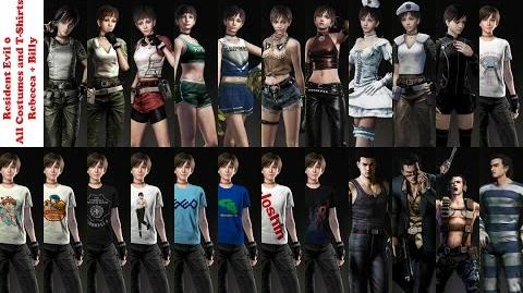 Resident Evil Zero - All 14 Costumes (Rebecca + Billy), and 9 T-shirts (Rebecca)