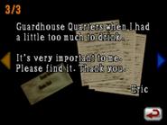 Resident Evil DS - Eric's Letter 3