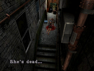 Resident Evil 3 Nemesis screenshot - Uptown - Warehouse back alley examine 04