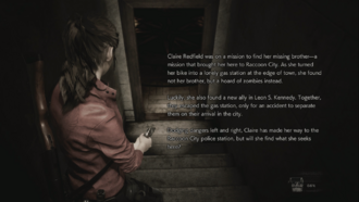 RE2 remake demo (Claire) loading screen (eng)