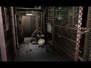Jill breaks through the emergency exit