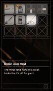RESIDENT EVIL 7 biohazard Broken Clock Hand inventory