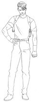 Resident Evil Archives - Early Leon plainclothes lineart