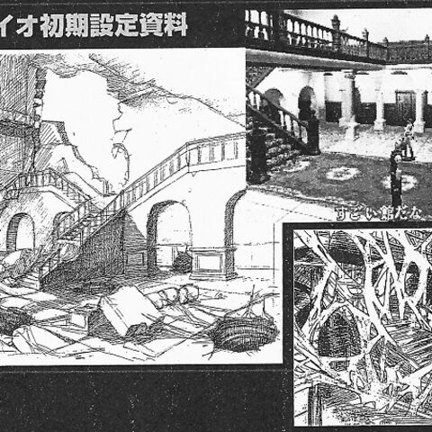 Unused <i>BIO HAZARD 2</i> concept artwork of the mansion in ruins.