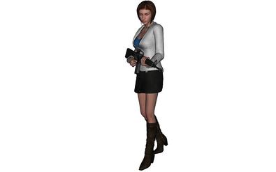 Jane holding Michael's Colt M-16A1