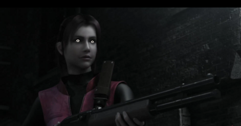 Claire holding a Shotgun