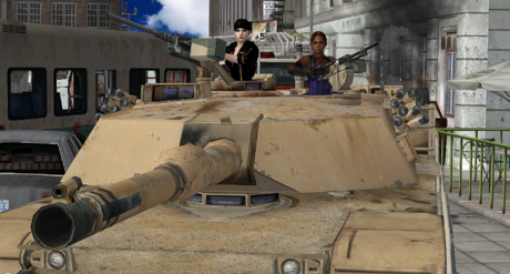 Jill and Sheva in an M1 Abrams