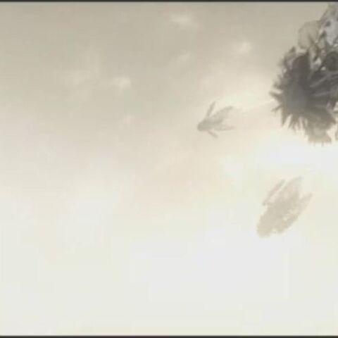 Drei Spire Raketen in der Luft vor dem Aufschlag.